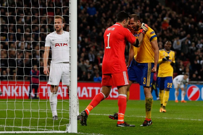 Gianluigi Buffon i Giorgio Chiellini (w żółtej koszulce) w meczu Ligi Mistrzów z Tottenhamem w marcu 2018 roku /AFP