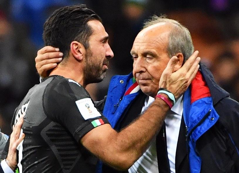 Gianluigi Buffon (z lewej) i trener reprezentacji Włoch Gian Piero Ventura /PAP/EPA