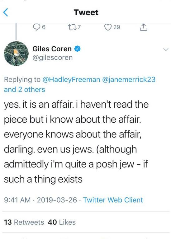 Giles Coren ujawnił niewygodną prawdę? /Twitter /