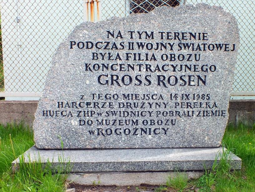Głaz upamiętniający funkcjonowanie w okresie II wojny światowej obozu pracy przymusowej Bunzlau I /Wrzesiński /Odkrywca