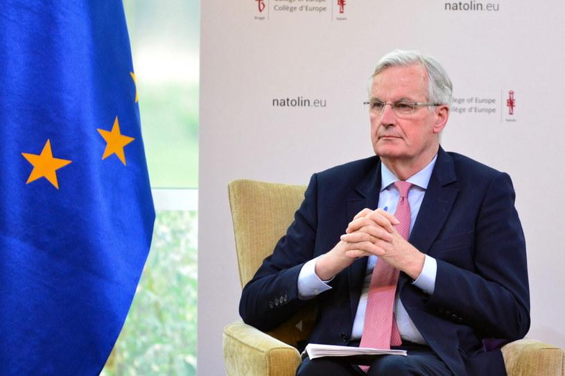 """Główny negocjator Komisji Europejskiej ds. brexitu Michel Barnier podczas wykładu pt. """"Europe after Brexit"""" w Kolegium Europejskim w Natolinie / Jakub Kamiński    /PAP"""
