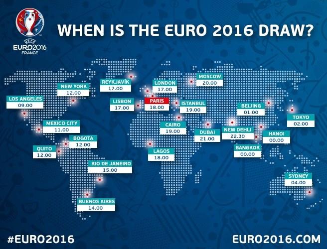 Godziny ceremonii losowania grup Euro 2016 na świecie. Źródło: uefa.com /INTERIA.PL