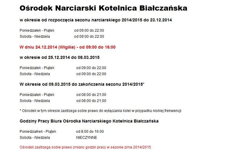 Godziny pracy Ośrodka narciarskiego Kotelnica Białczańska /bialkatatrzanska.pl /