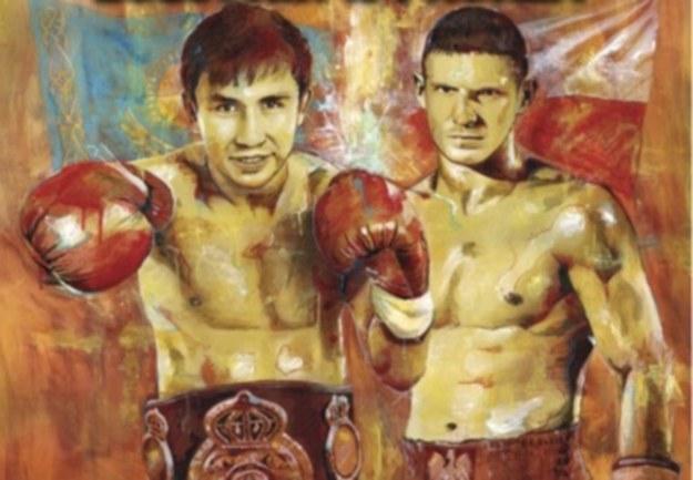 Gołowkin i Proksa na posterze promującym walkę o pas WBA /Informacja prasowa