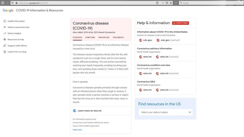 google.com/covid-19 /INTERIA.PL
