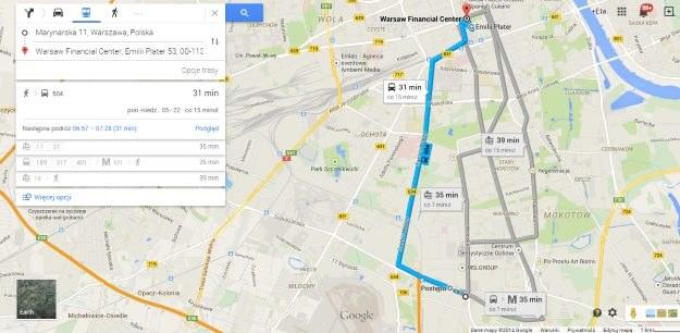 Google Transit w Warszawie /materiały prasowe