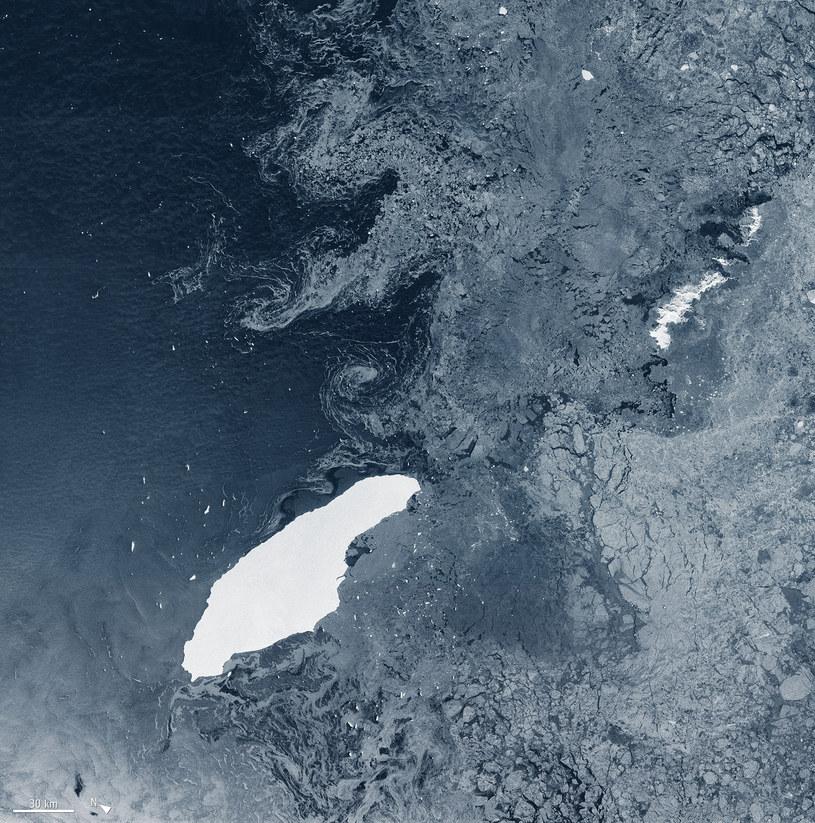 Góra lodowa A-68-A na otwartych wodach. /ESA - European Space Agency /