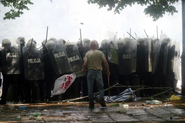 Górnicy pod Sejmem, fot. Darek Redos /Reporter