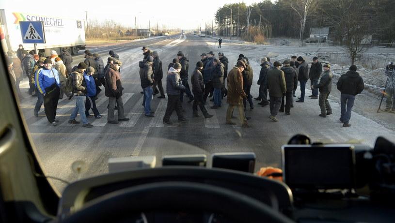 Górnicy zablokowali dojazd do przejścia granicznego z Polską /Darek Delmanowicz /PAP
