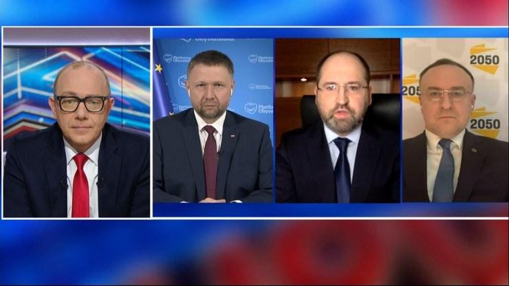 """Goście """"Debaty Tygodnia"""" dyskutowali m.in. o szpitalach tymczasowych /Polsat News"""