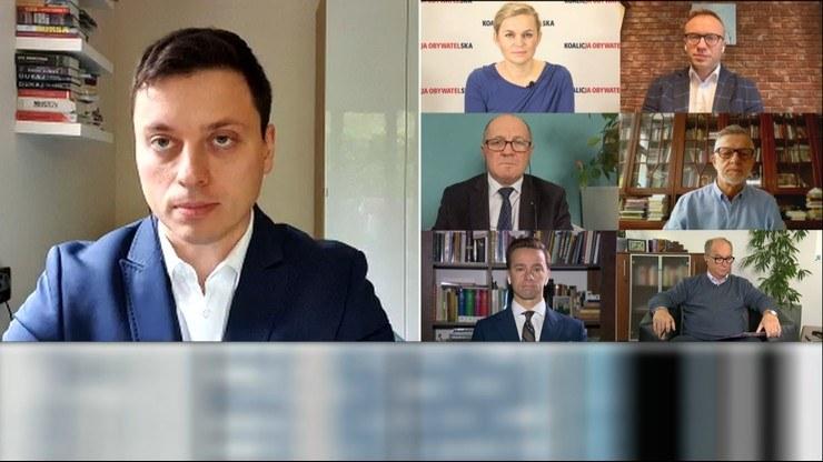 """Goście """"Śniadania w Polsat News"""" z 11 października i prowadzący Piotr Witwicki. /Polsat News /Polsat News"""