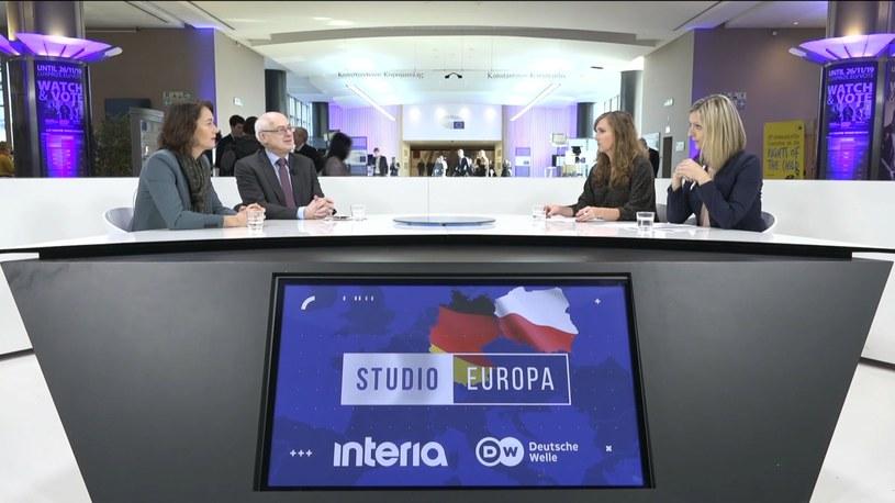 """Gośćmi """"Studia Europa"""" byli: Katarina Barley i Zdzisław Krasnodębski /INTERIA.PL"""