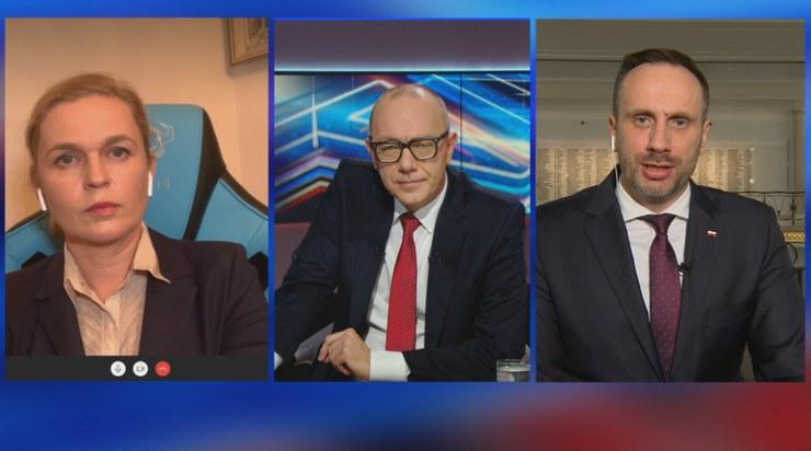 """Gośćmi w """"Debacie Dnia"""" byli Barbara Nowacka i Janusz Kowalski /Polsat News"""