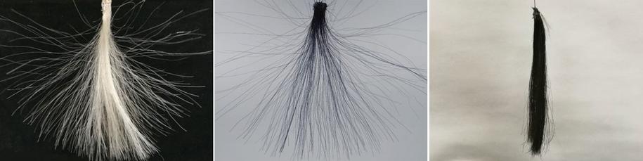 Grafenowy barwnik (po prawej) zapobiega elektryzowaniu się włosów. /Chong Luo /materiały dystrybutora