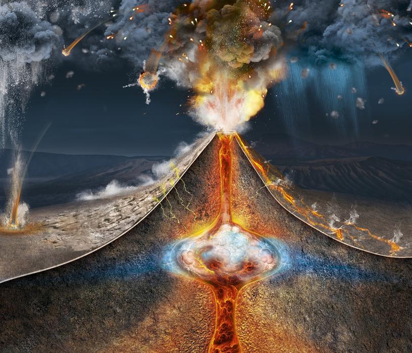 Grafika obrazująca erupcję wulkanu Tambora /East News