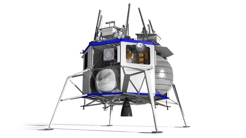 Grafika prezentująca bezzałogową wersję lądownika Blue Moon / Fot. Blue Origin /materiały prasowe