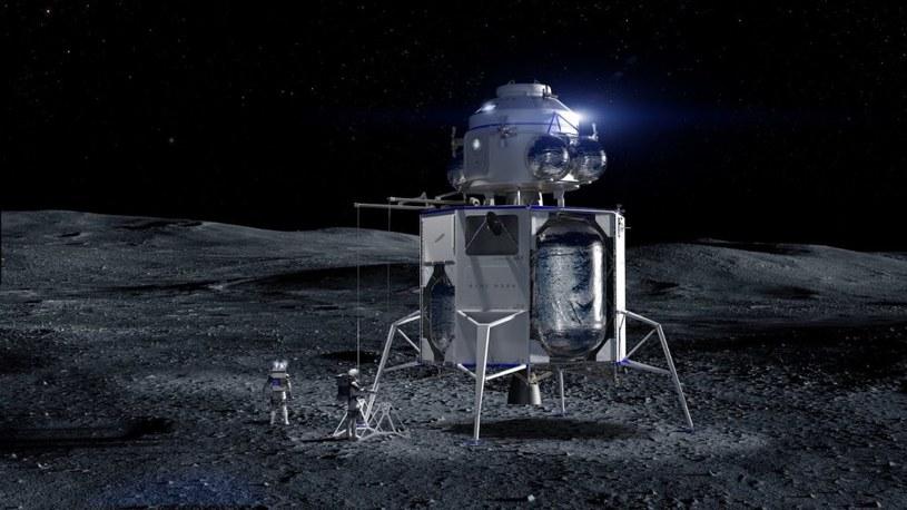 Grafika prezentująca załogową wersję lądownika Blue Moon / Fot.– Blue Origin /materiały prasowe