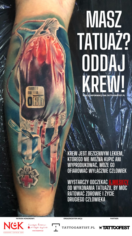 """Grafika promująca akcję """"Masz tatuaż? Oddaj krew! /materiały prasowe"""
