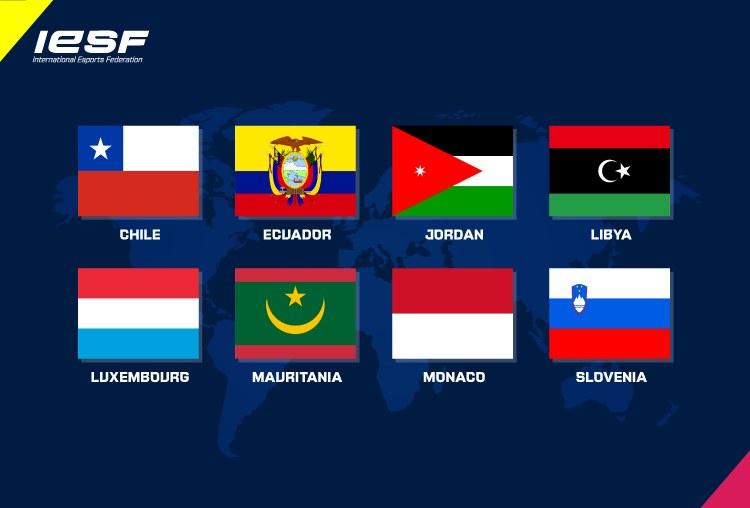 Grafika przedstawiajaca flagi nowych członków International Esports Federation. Zdjęcie pochodzi z oficjalnej strony organizacji - ie-sf.org /materiały prasowe