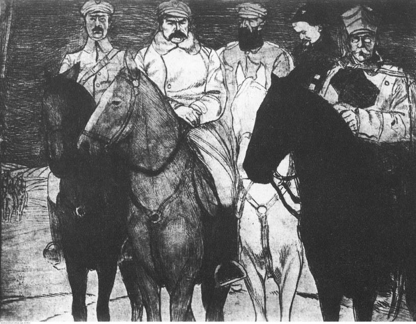 Grafika przedstawiająca oficerów legionowych. Od lewej: Kazimierz Sosnkowski, Józef Piłsudski, Edward Rydz-Śmigły i Wacław Sieroszewski