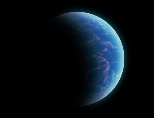 Grafika przedstwiająca małą oceaniczną egzoplanetę z niewielką ilością chmur / Fot: K. Kanawka /Kosmonauta
