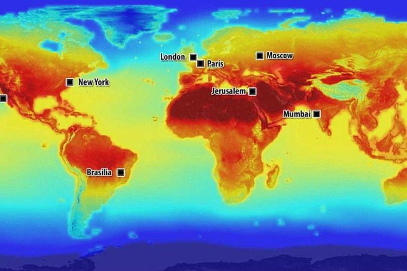 Grafika przygotowana przez NASA - możliwa mapa temperatur w 2100 roku /NASA