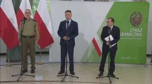 Granica polsko-białoruska. Szokujące slajdy na konferencji szefów MON, MSWiA i komendanta Straży Granicznej