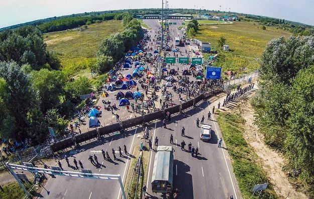 Granica węgiersko-serbska koło Roeszke we wrześniu 2015 r. /AFP