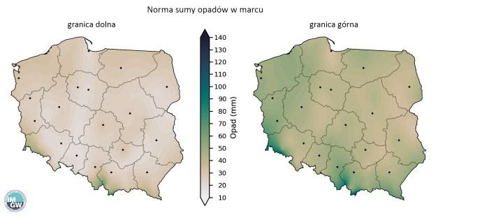 Granice normy wieloletniej sumy opadów w marcu /imgw.pl /