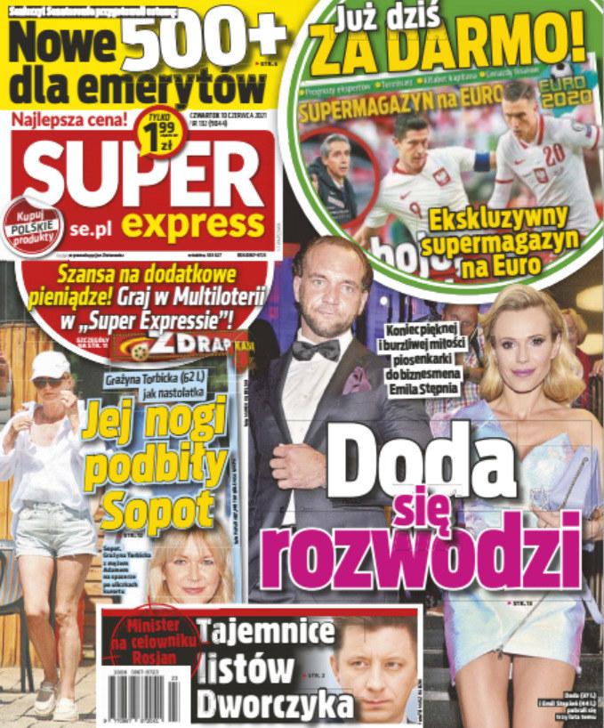 """Grażyna Torbicka na okładce """"Super Expressu"""" w białych szortach. Prawda, że wygląda świetnie? /Super Express /Super Express"""