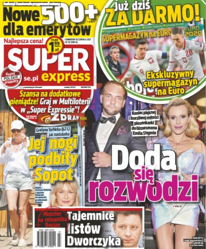Grażyna Torbicka na okładce Super Expressu z dnia 10.06.2021 /Super Express /Super Express