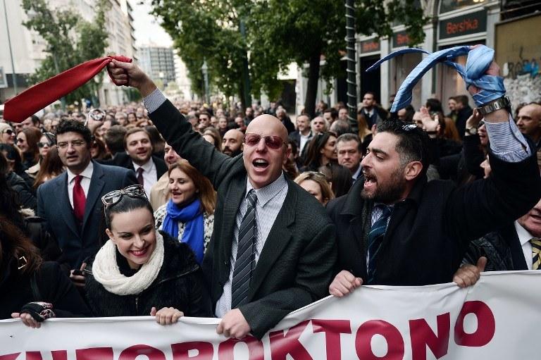 Greccy prawnicy strajkują od miesięcy przeciwko podwyżkom podatków i reformie systemu emerytalnego/ fot. ze stycznie 2016 /LOUISA GOULIAMAKI / AFP /AFP