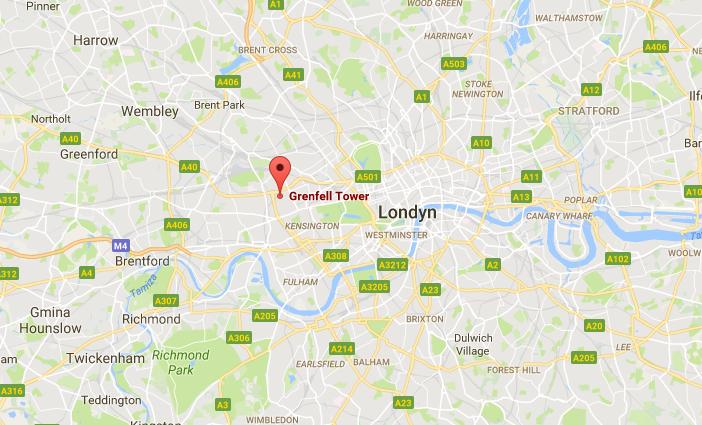 Grenfell Tower znajduje się w zachodniej części Londynu /Google Maps /