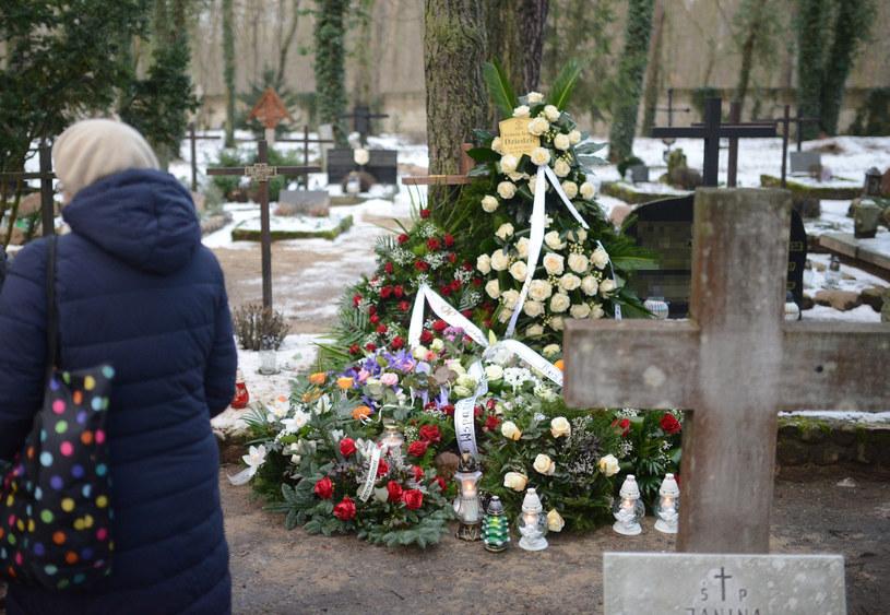 Grób Ireny Dziedzic na cmentarzu w Laskach, zdjęcie zrobione po pogrzebie /Tadeusz Wypych /Reporter