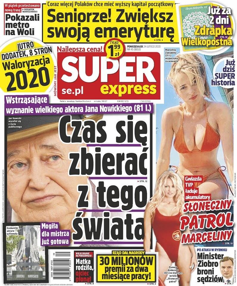 """Grób Jana Nowickiego na okładce """"Super Expressu"""" /"""