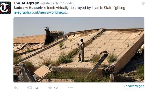 Grobowiec Husajna został kompletnie zniszczony /Twitter