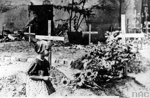 Groby uliczne w okupowanej Warszawie - widoczna klęcząca dziewczynka /Z archiwum Narodowego Archiwum Cyfrowego