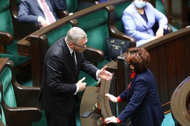 Grzegorz Braun i marszałek Sejmu Elżbieta Witek / Tomasz Gzell    /PAP
