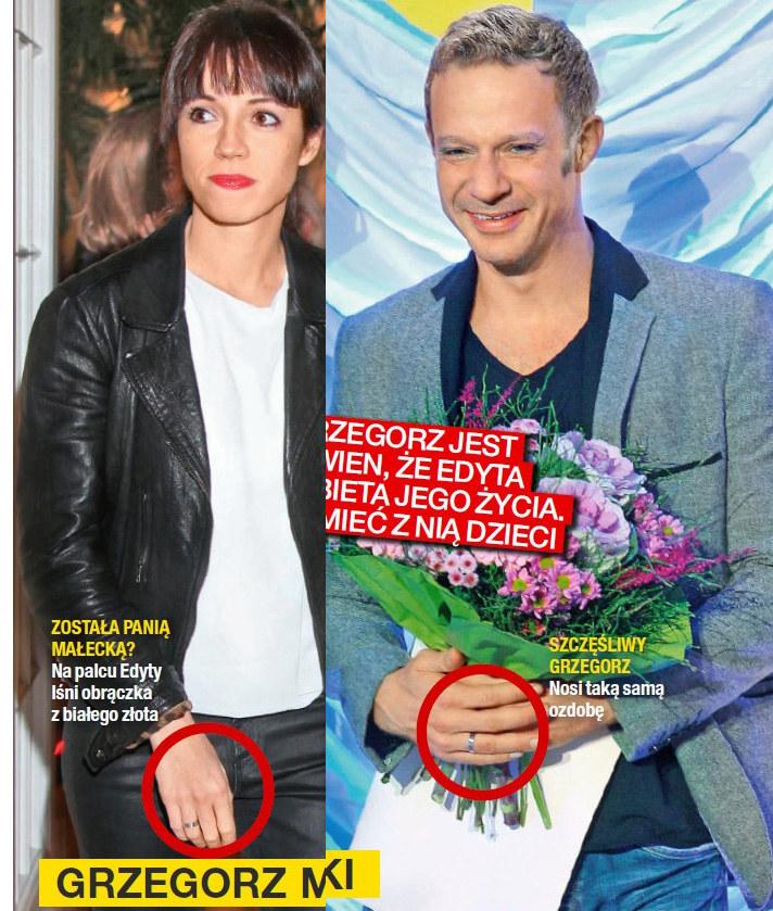 Grzegorz i Edyta z obrączkami na palcach /Na żywo