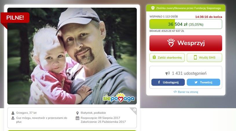 Grzegorz Kaczorowski walczy z rakiem /siepomaga.pl /