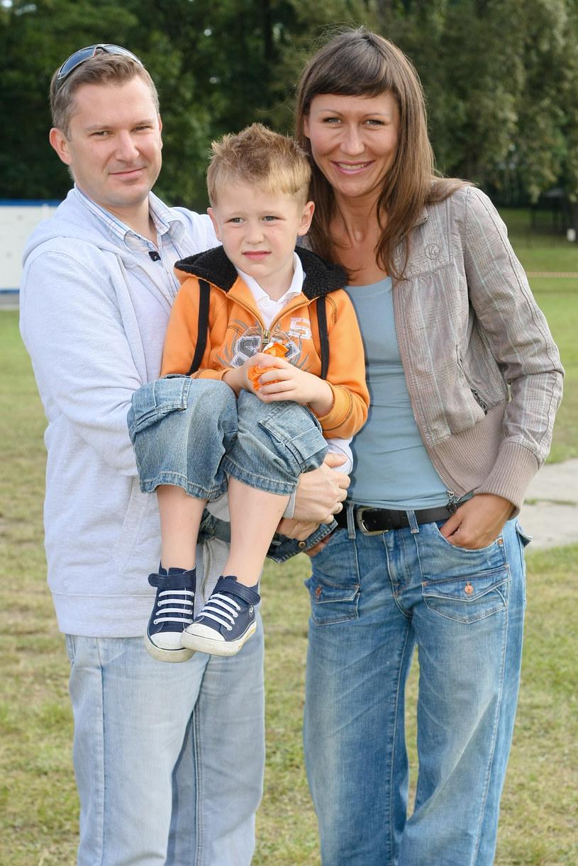 Grzegorz Kajdanowicz z byłą żoną i synem, zdjęcie archiwalne /Marcin Dławichowski /Agencja FORUM