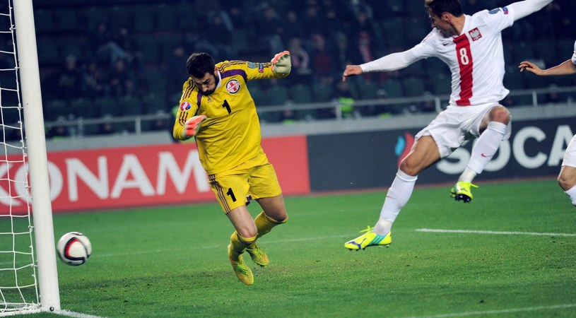 Grzegorz Krychowiak i Giorgi Loria podczas meczu Gruzja - Polska /AFP