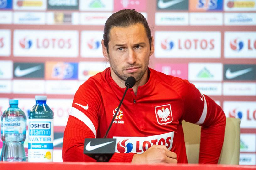 Grzegorz Krychowiak na konferencji prasowej /Piotr Hukalo/East News /East News