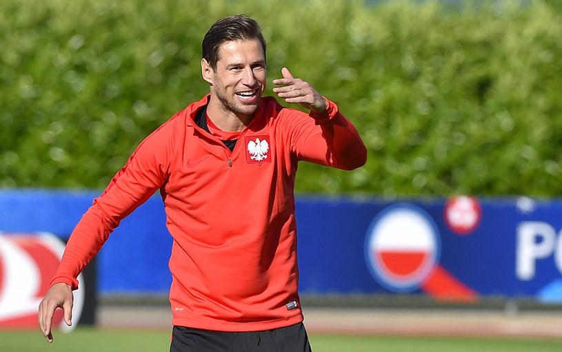 Grzegorz Krychowiak na treningu reprezentacji Polski w La Baule /AFP