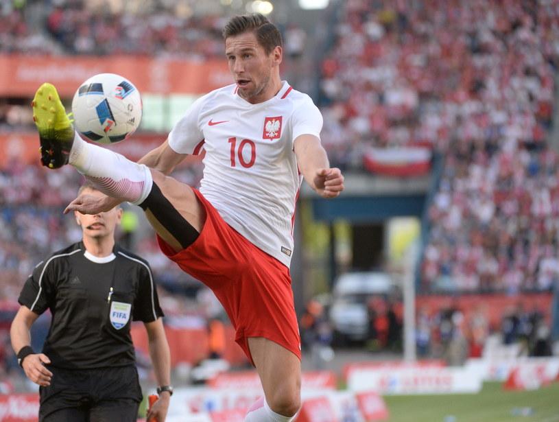 Grzegorz Krychowiak podczas meczu z Litwą /Bartłomiej Zborowski /PAP