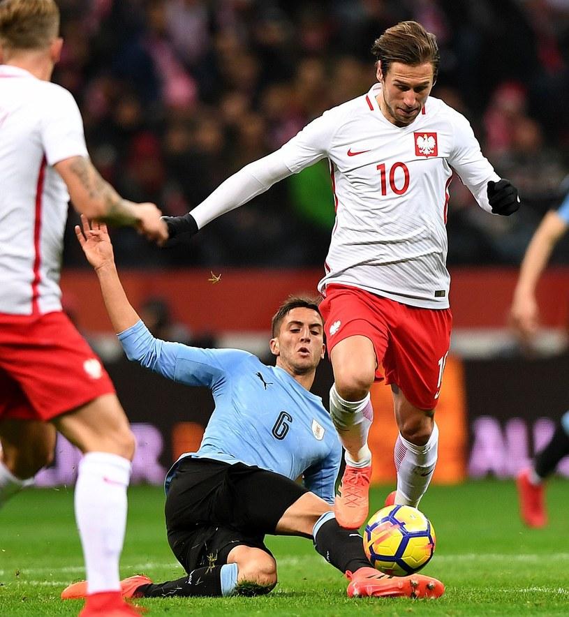 Grzegorz Krychowiak w meczu przeciwko Urugwajowi /AFP