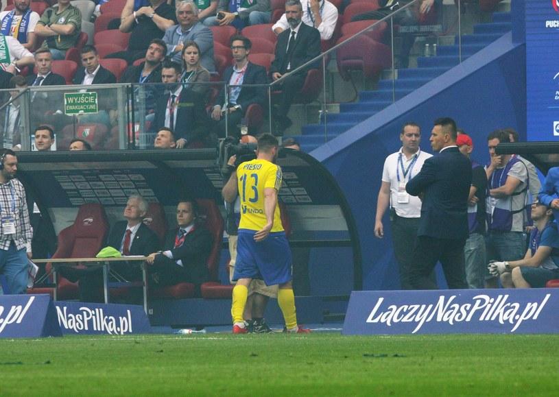 Grzegorz Piesio zobaczył czerwoną kartkę w finale Pucharu Polski /East News
