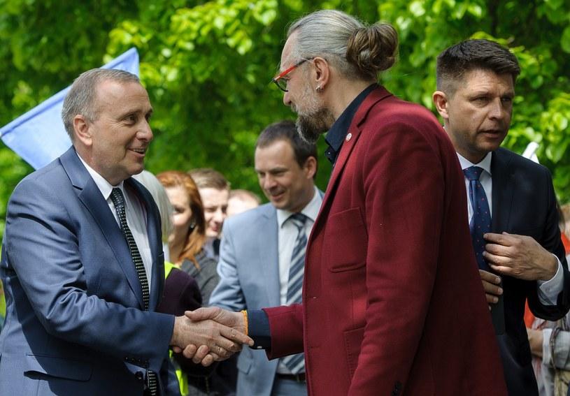 Grzegorz Schetyna i Mateusz Kijowski /Rafał Oleksiewicz /Reporter
