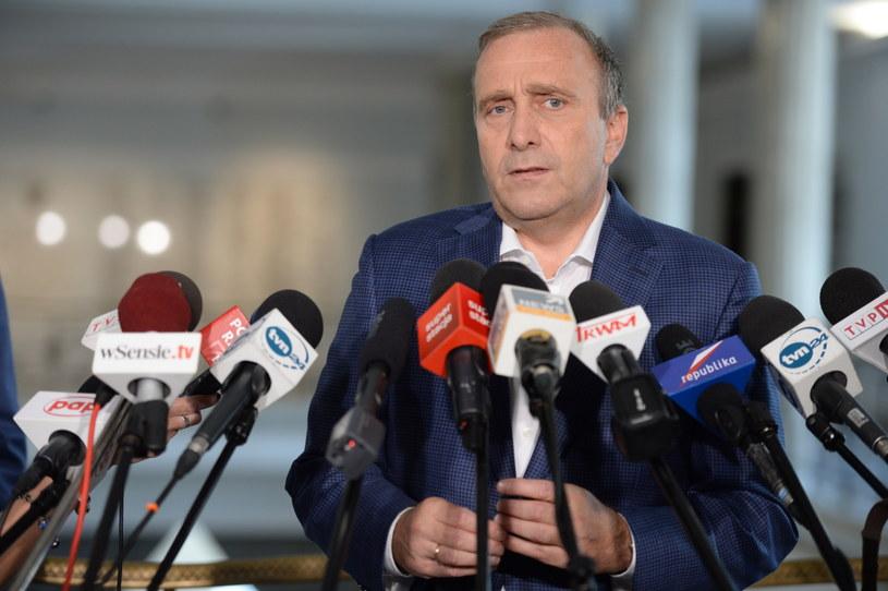 Grzegorz Schetyna na konferencji prasowej w Sejmie /Jacek Turczyk /PAP