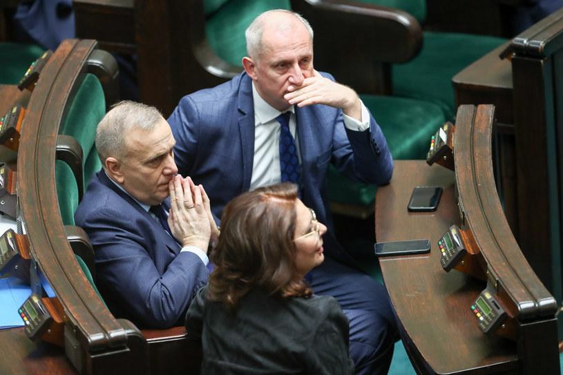 Grzegorz Schetyna, Sławomir Neumann i Małgorzata Kidawa-Błońska w Sejmie /fot. Andrzej Iwanczuk /Reporter